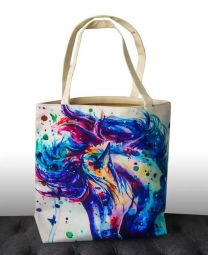 Gift Xmas20 Tote Bag Water Colour Horse Print Blue Flowing Mane