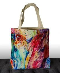Gift Xmas20 Tote Bag Water Painting Two Horses