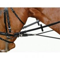 Side Rein Round Elastic Leather Black