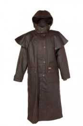 Outback Classic Oilskin Riding Coat with Hood Brown