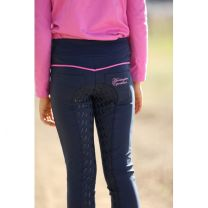 Huntington Girls Pull On Full Seat Gel Breeches Navy & Pink Childs