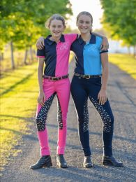 Peter Williams Pull On Print Jodhpurs Pink & Navy & Silver Childs