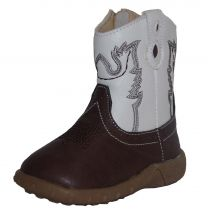 Baxter Western Baby Boots Brown & White Childs